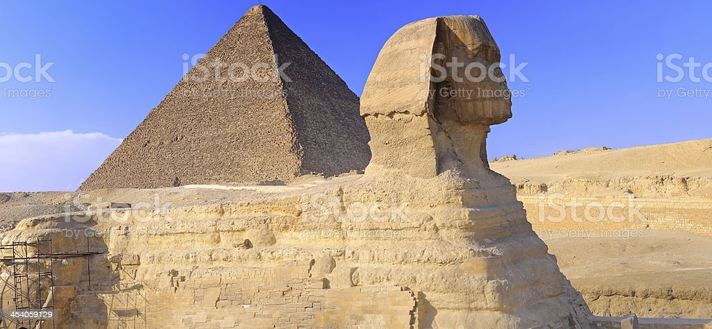 Pyramid located at Giza and the Sphinx.  Panorama royalty-free stock photo