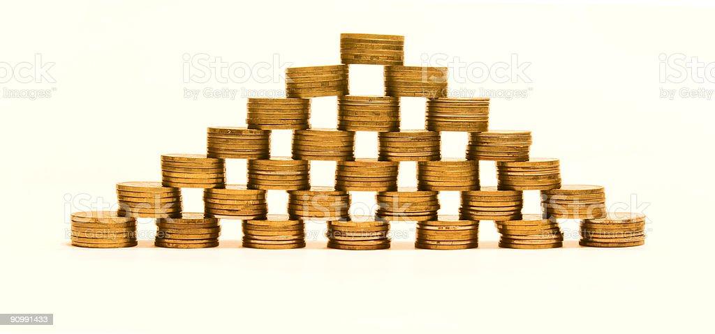 pyramid made of coins royalty-free stock photo