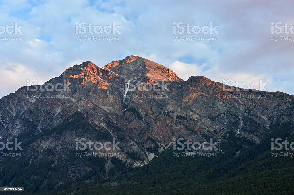 Pyramid Mountain at Sunrise stock photo