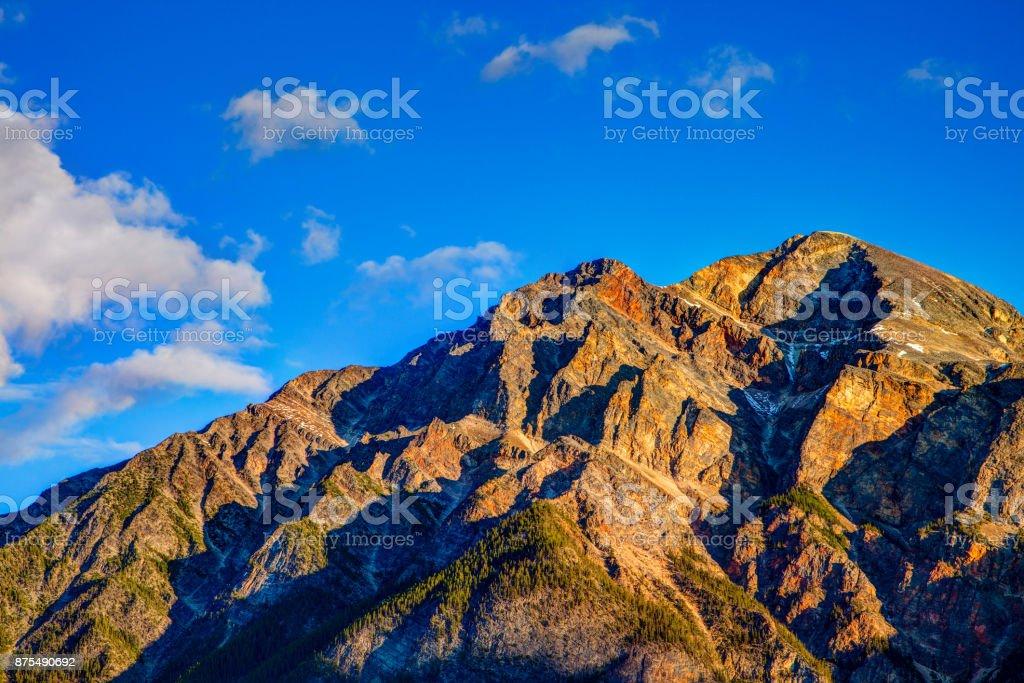 Pyramid Mountain in Jasper National Park, Alberta, Canada stock photo