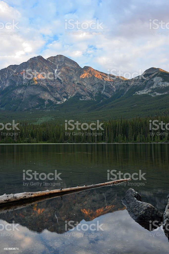 Pyramid Mountain in Jasper National Park at Sunrise stock photo
