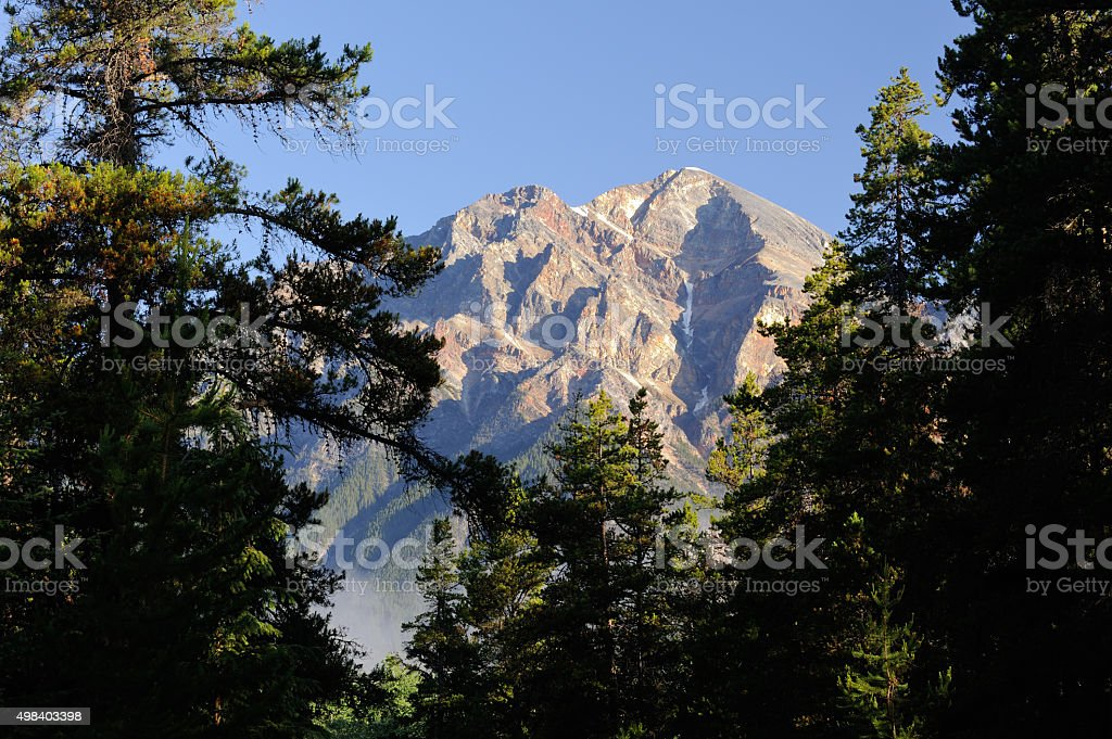 Pyramid Mountain in Jasper National Park stock photo