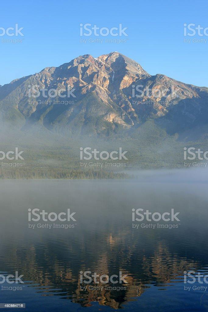 Pyramid Mountain Reflection stock photo