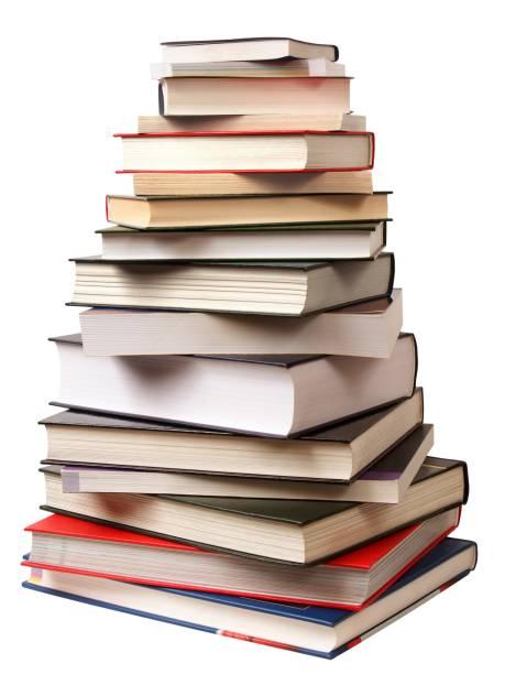 Pyramid of books stock photo