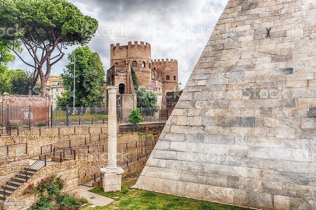 Pyramid of Cestius near Porta San Paolo, Rome, Italy stock photo