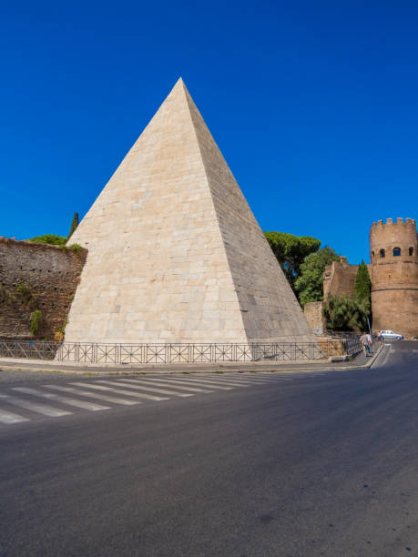 Pyramid of Cestius, Rome, Italy stock photo