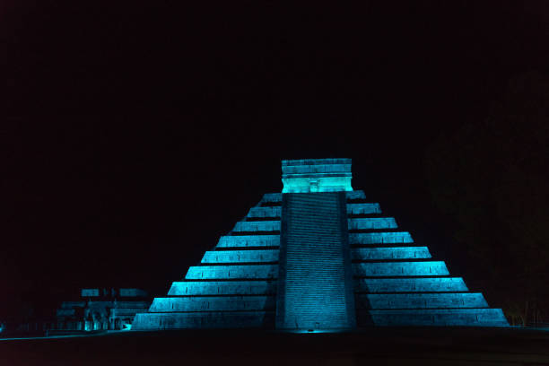 Pyramid of Chichen Itza at Night stock photo