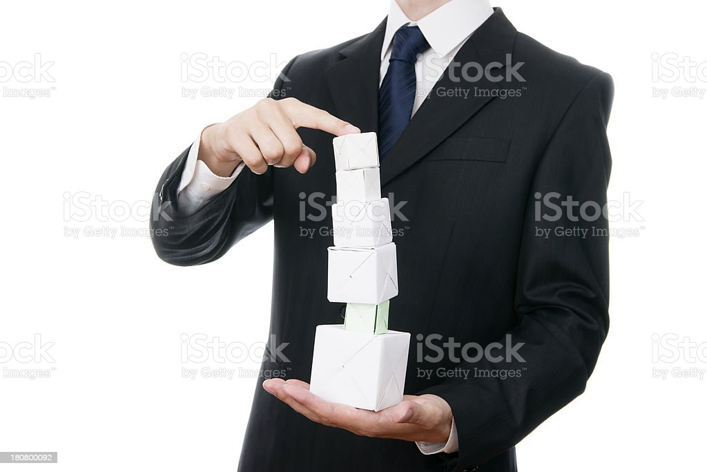 Pyramid of cubes stock photo