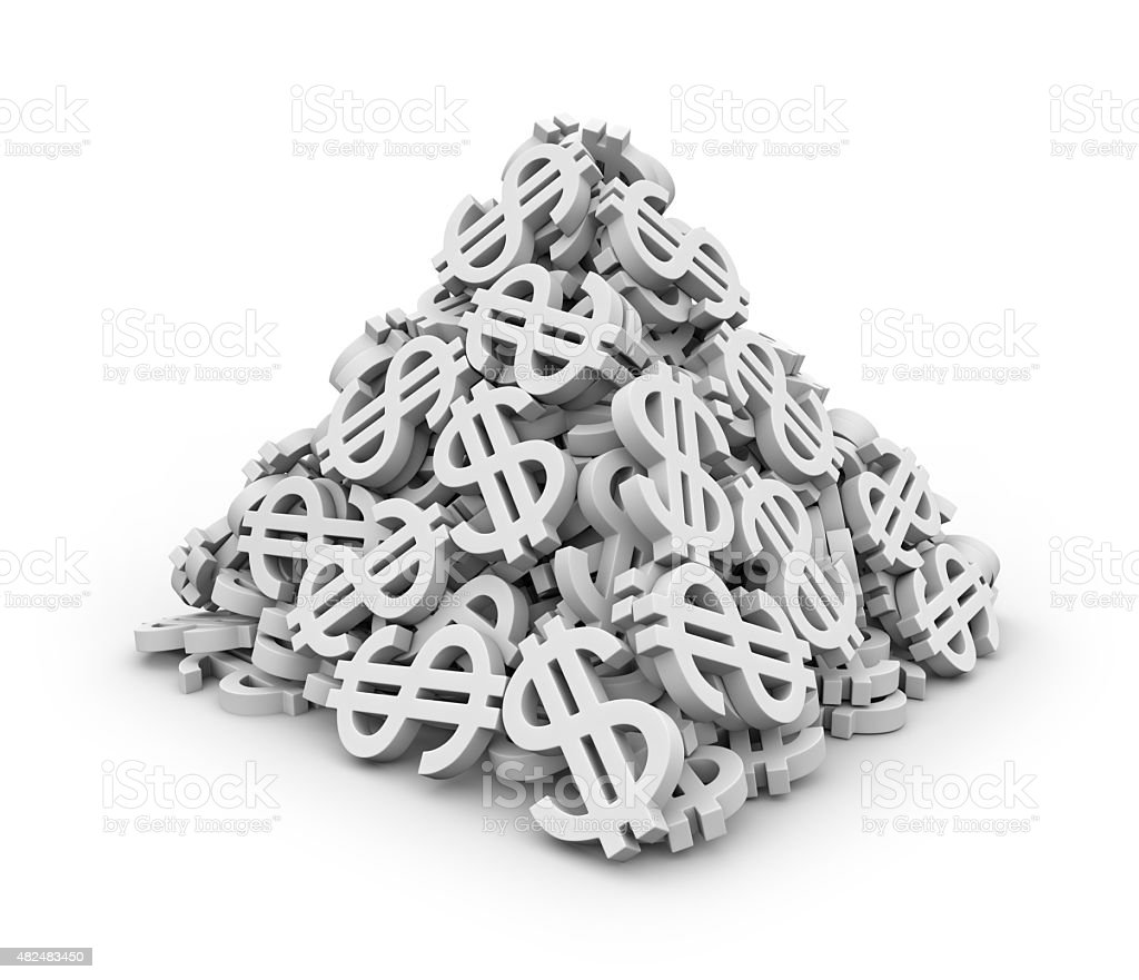 Pyramid of dollar signs stock photo