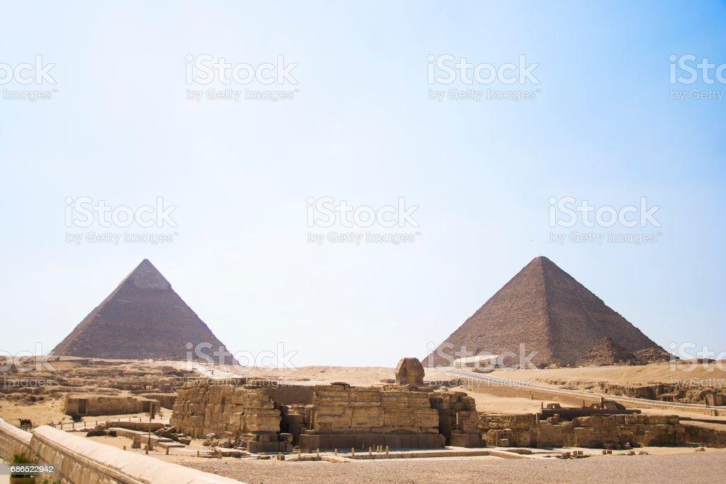 Pyramid of Egypt. View of the Giza Pyramids. Egypt. Cairo. stock photo