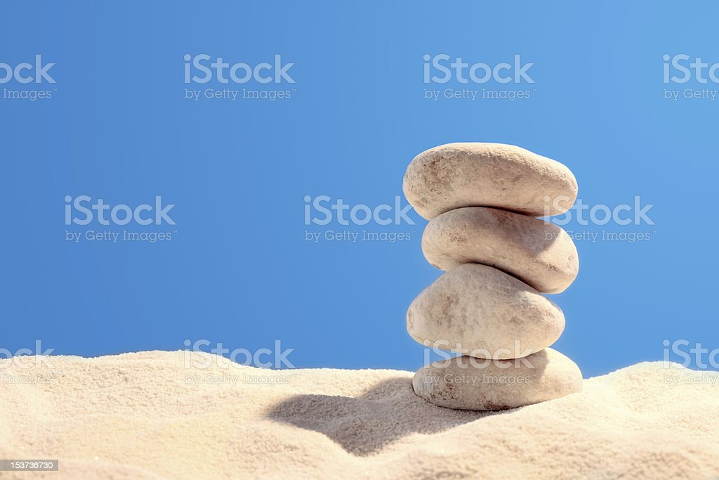 Pyramid of four stones royalty-free stock photo