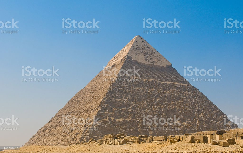 Pyramid of Giza in Cairo against blue sky royalty-free stock photo
