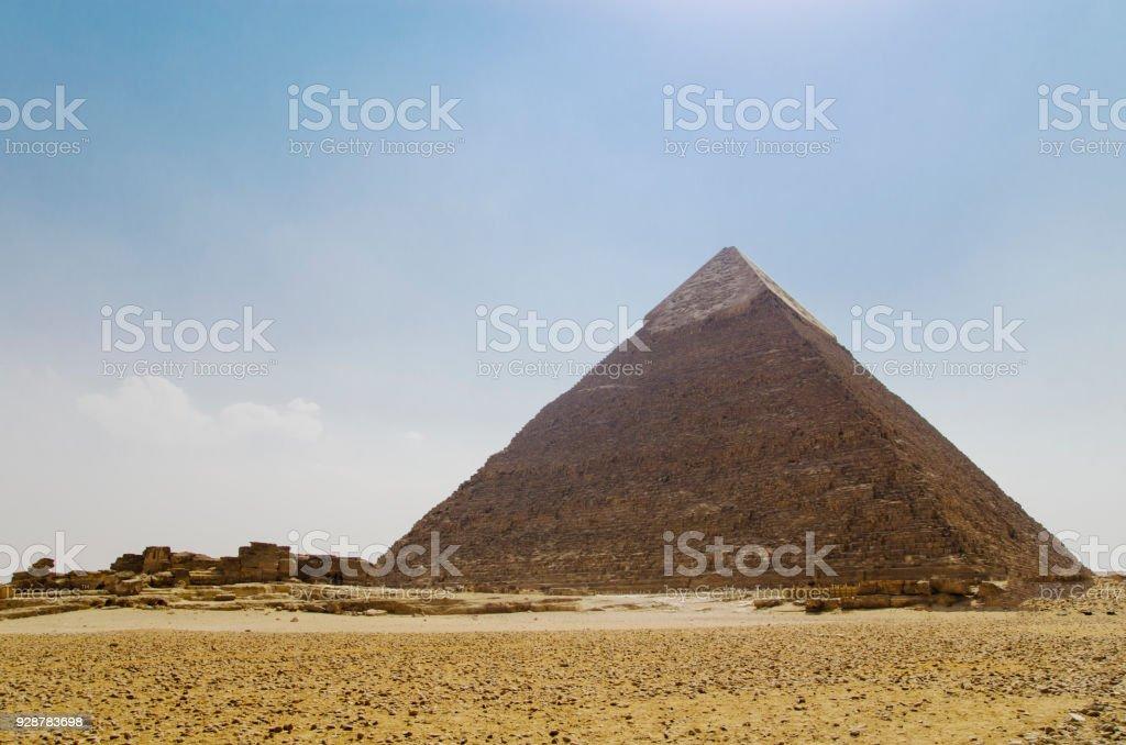 Pyramid of Khafre against the sky stock photo