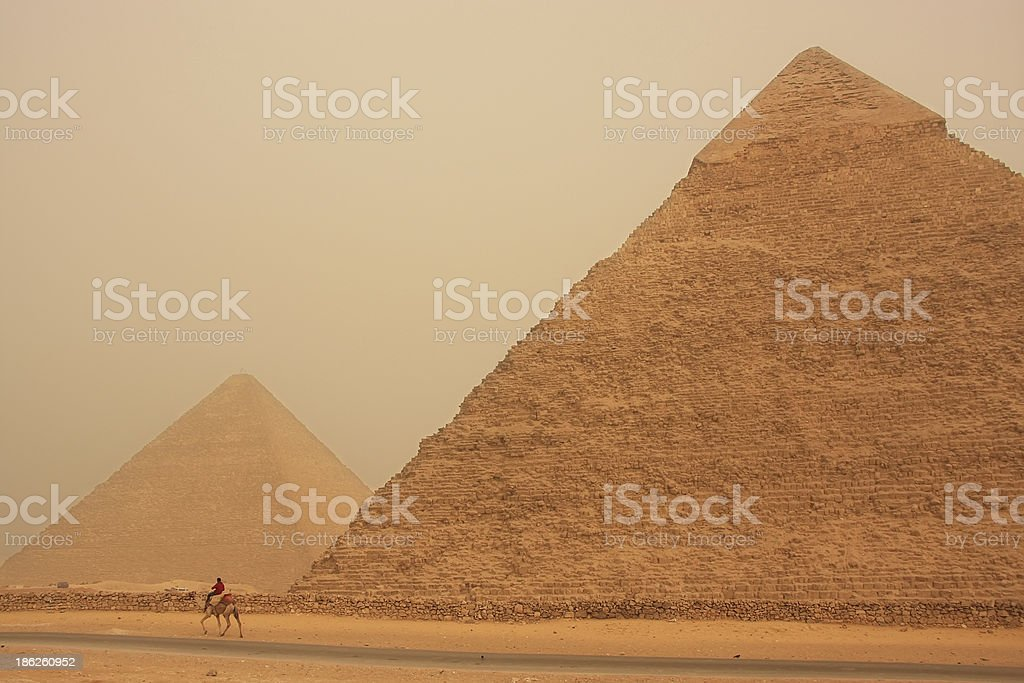 Pyramid of Khafre in a sand storm, Cairo, Egypt royalty-free stock photo