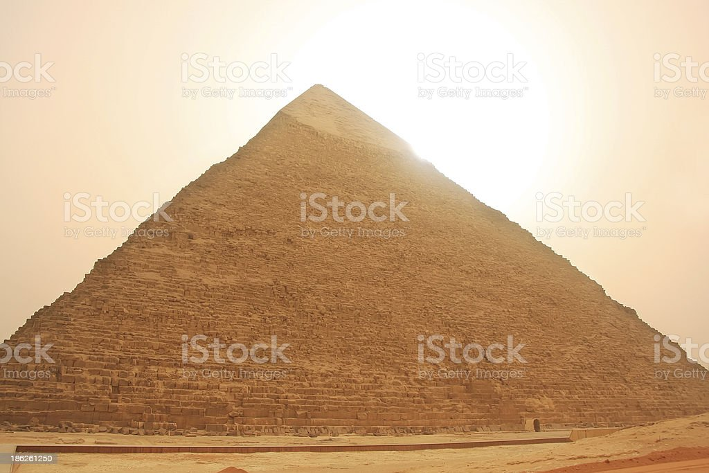 Pyramid of Khafre in a sand storm, Cairo royalty-free stock photo