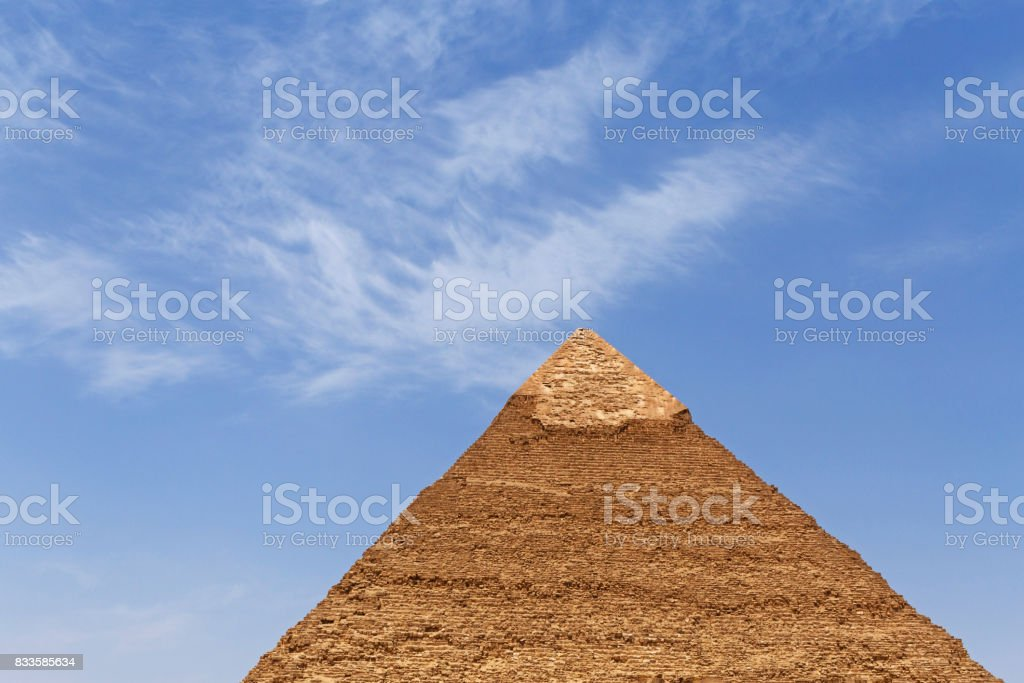 pyramid of Khafre in Giza against blue sky stock photo