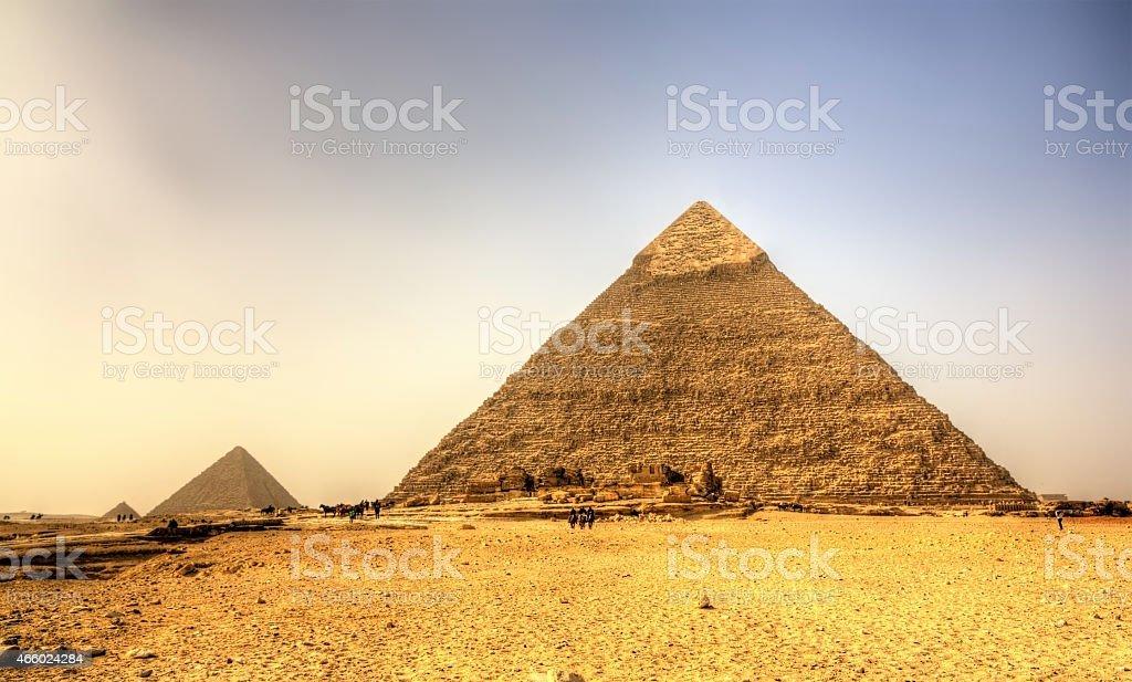 Pyramid of Khafre (Pyramid of Chephren) in Giza - Egypt stock photo