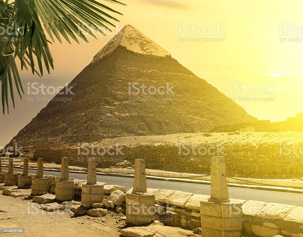 Pyramid of Khafre near road stock photo
