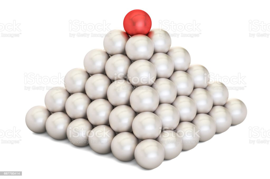 Pyramid of metal balls isolated on white background stock photo