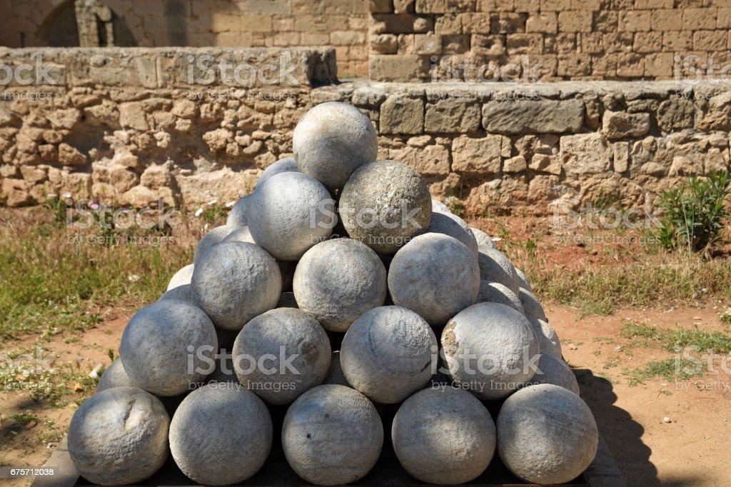Pyramid of old canonball of stone royalty-free stock photo