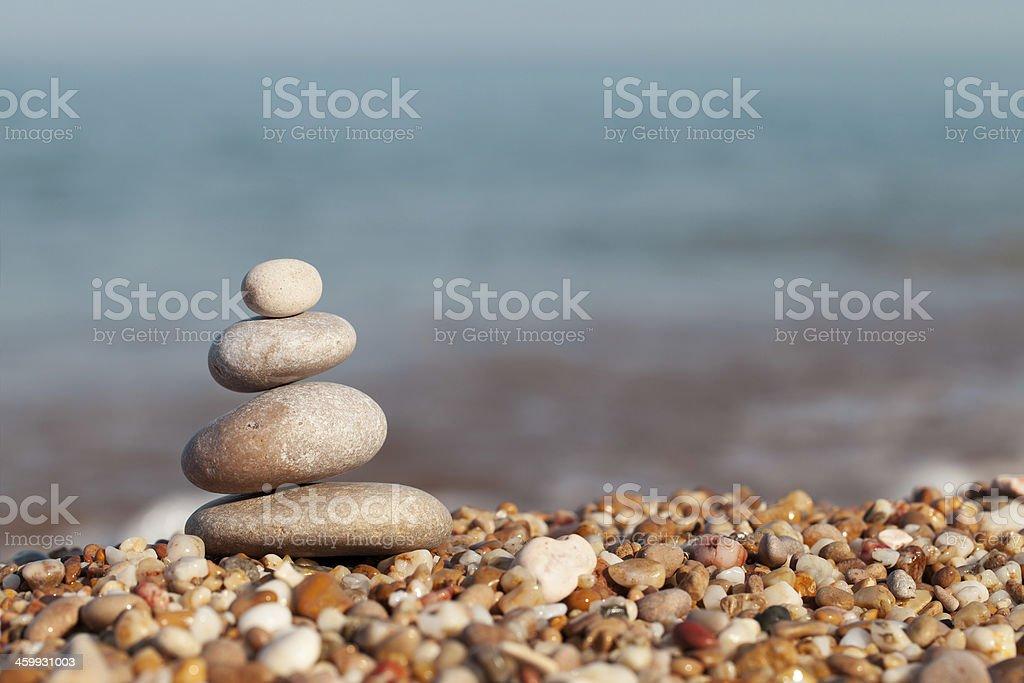 Pyramid of pebbles stock photo