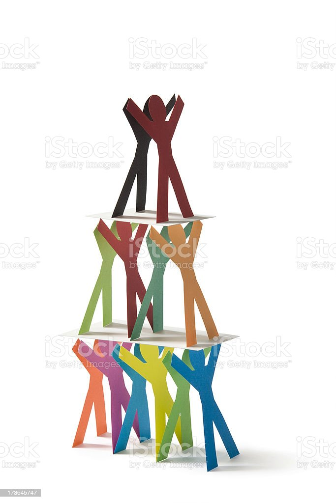 Pyramid of people stock photo