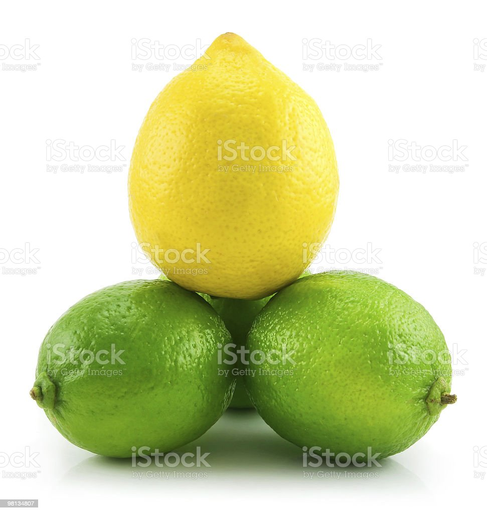 Pyramid of Ripe Lime and Lemon Isolated on White royalty-free stock photo