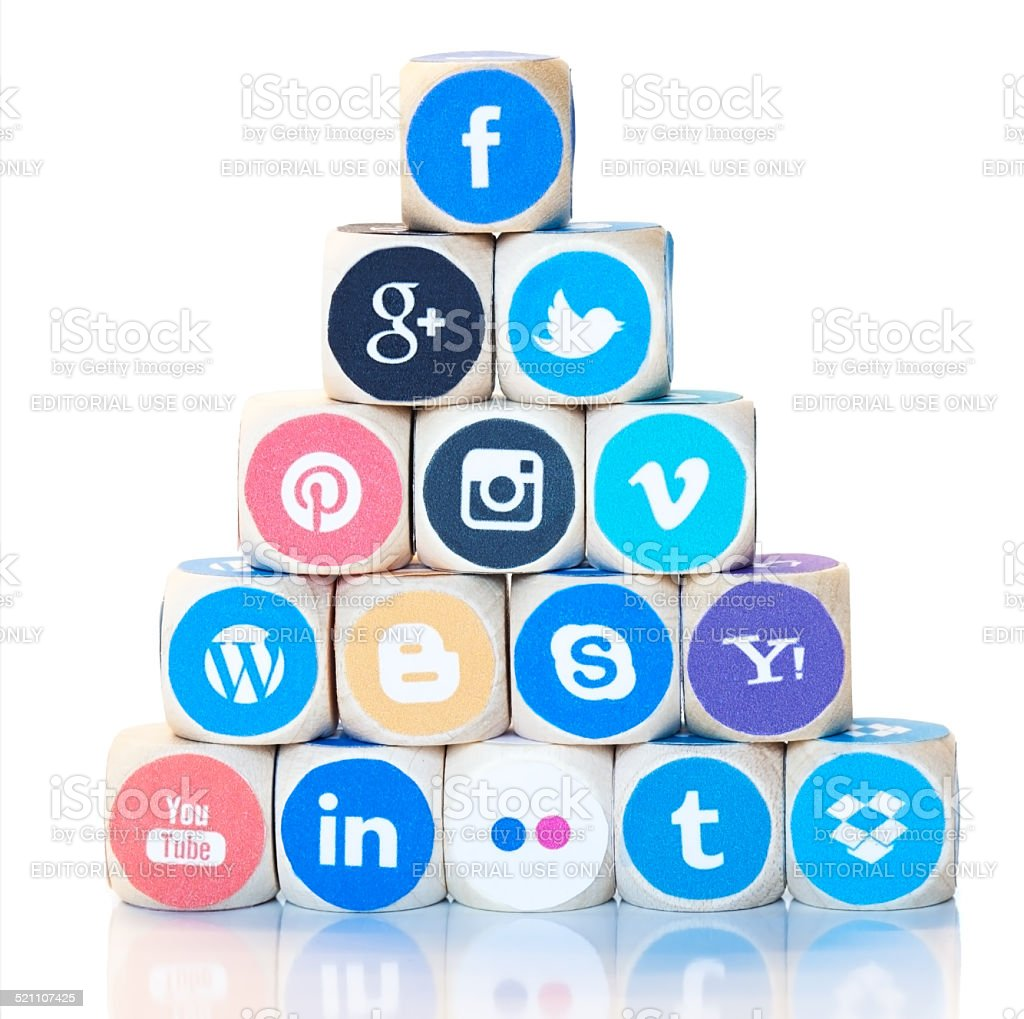 Pyramid of social media icons, Facebook on top stock photo