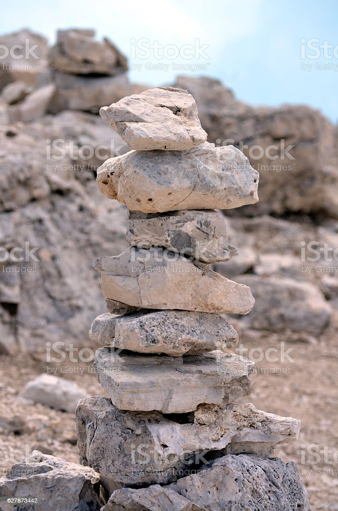 Pyramid of stones on the mountainside Stability and Equilibrium stock photo