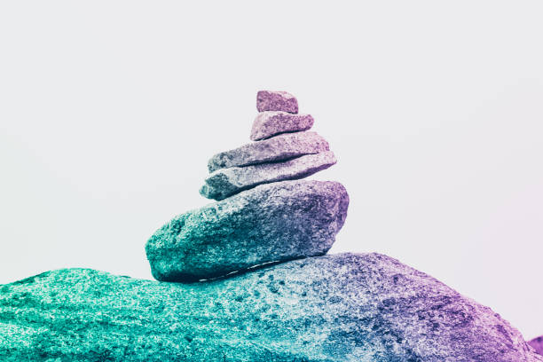 A pyramid of surreal stones, the concept of tranquility, creativity and uniqueness stock photo