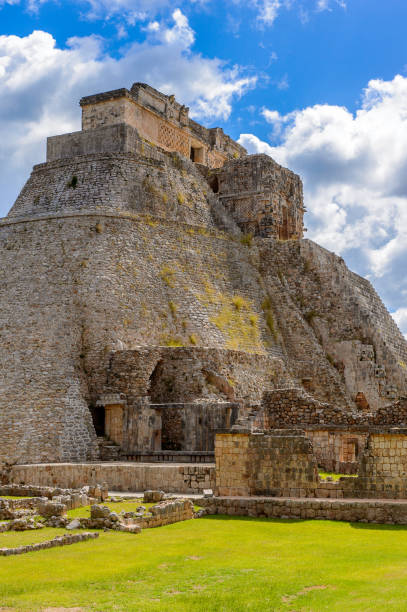 pyramid of the magician,  a mesoamerican step pyramid, uxmal, an ancient maya city of the classical period. unesco world heritage site - uxmal stock photos and pictures