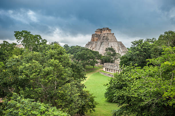 pyramid of the magician in uxmal, yucatan, mexico - uxmal stock photos and pictures