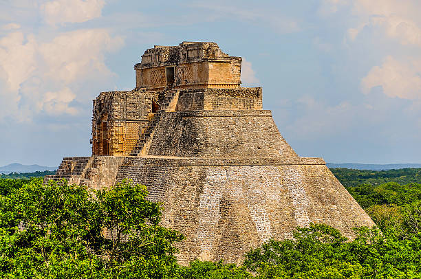 pyramid of the magician - uxmal, mexico - uxmal stock photos and pictures