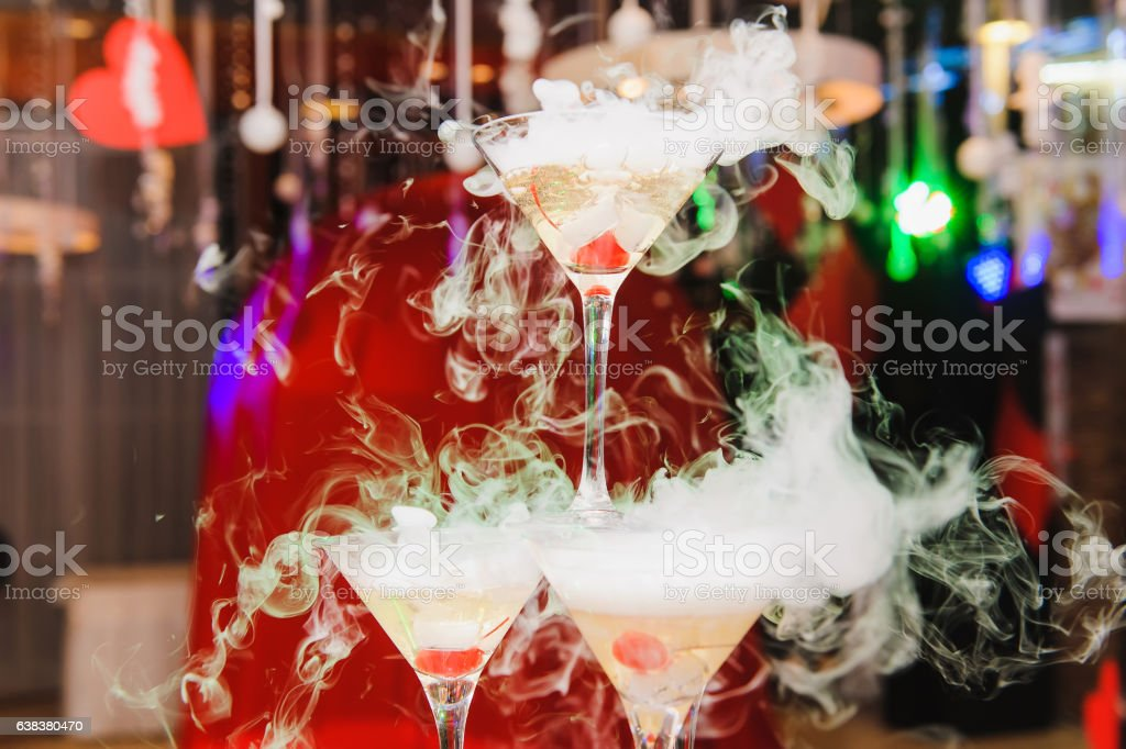 Pyramid of the martini glasses for party stock photo