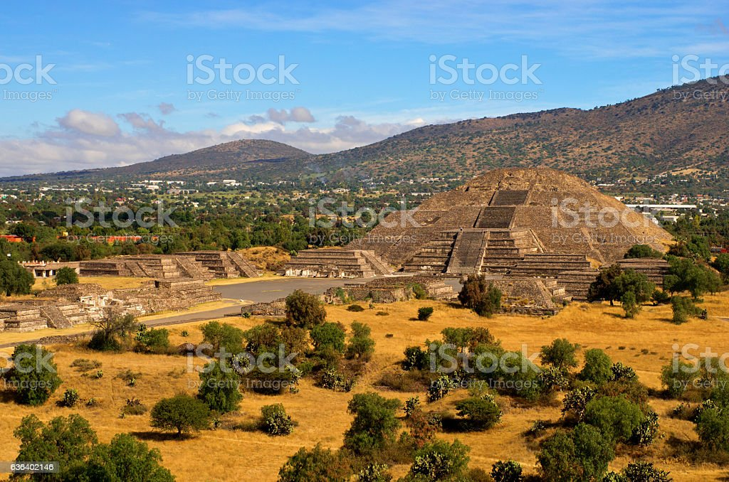 Pyramid of the Moon and the road of death.Teotihuacan stock photo