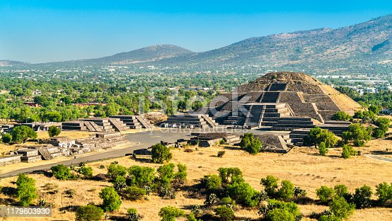 View of the Pyramid of the Moon at Teotihuacan. UNESCO world heritage in Mexico