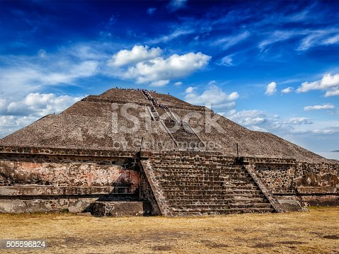 Pyramid of the Sun - famous Mexican tourist landmark. Teotihuacan, Mexico