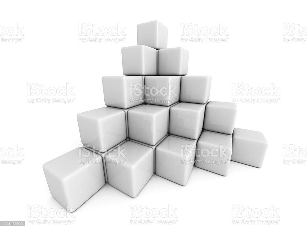 pyramid of white cube blocks stock photo