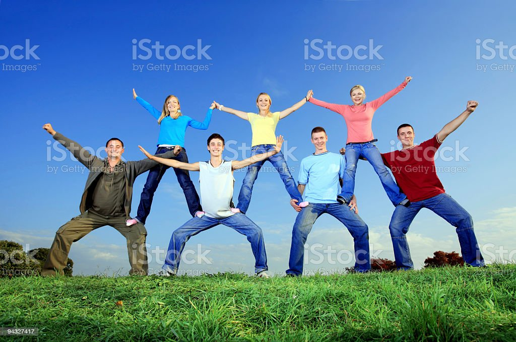Pyramid - of young people. stock photo