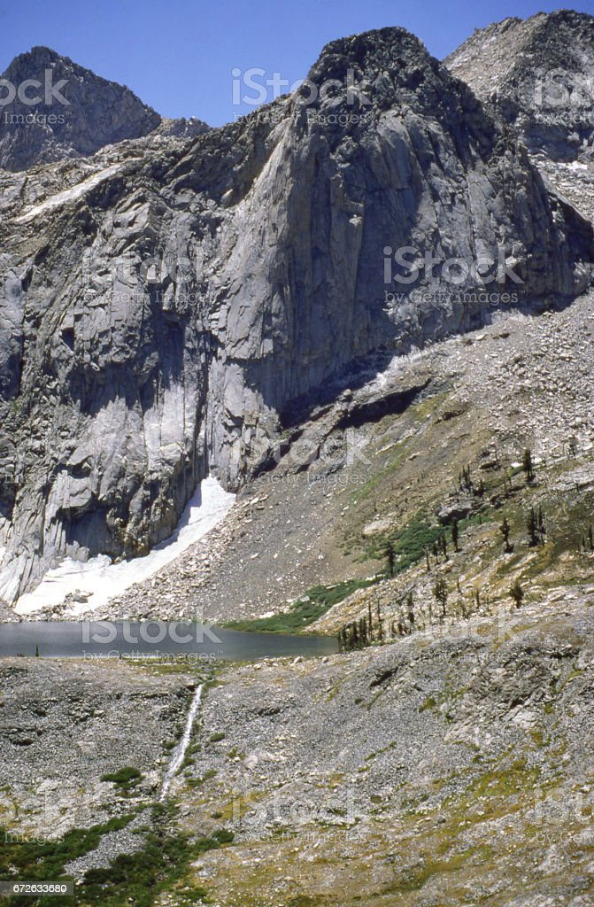 Pyramid Peak and hanging valley in the Mineral King Wilderness of Sequoia National Park California stock photo