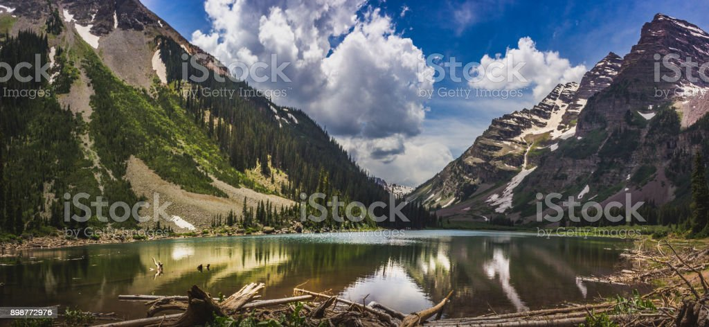Pyramid Peak, Maroon Bells, and Crater Lake Panorama stock photo