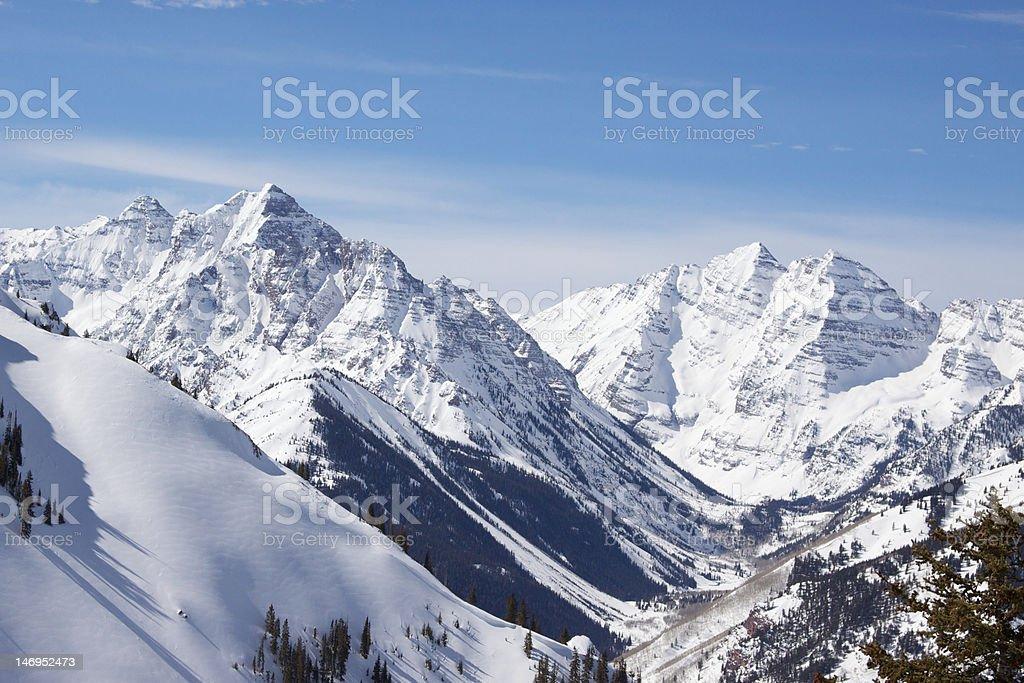 Pyramid Peak & Maroon Bells stock photo