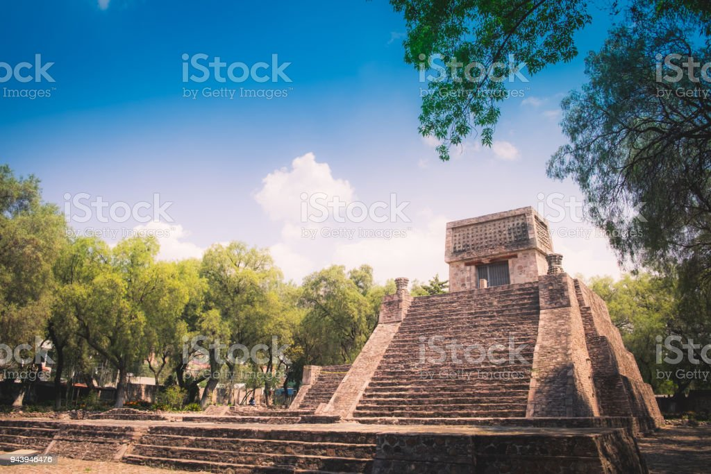 Pyramid Santa Cecilia Acatitlan stock photo