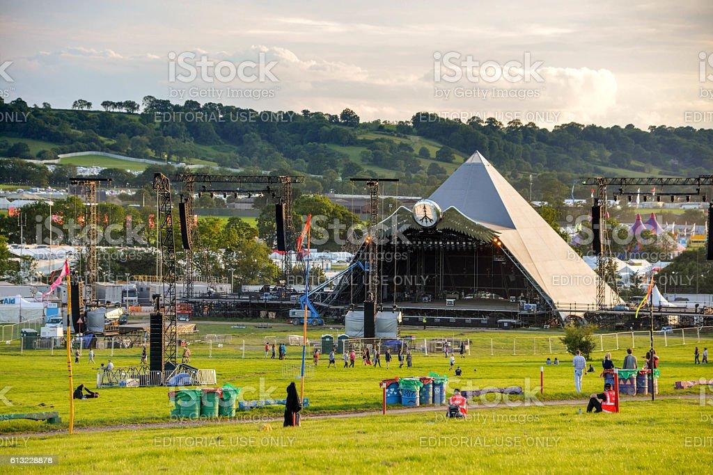 Pyramid stage at the Glastonbury festival 2015. stock photo