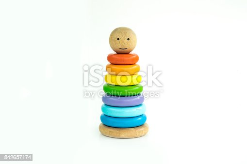 873187696 istock photo Pyramid toy composed of colorful wooden rings in a white isolated background 842657174