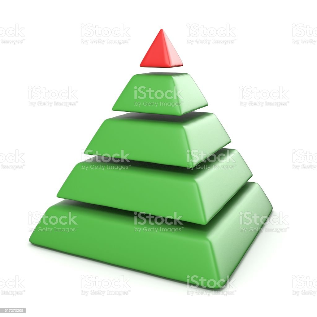Pyramid with five levels.Top red pyramid. 3D stock photo