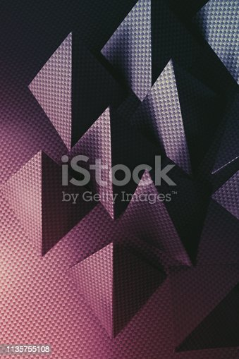 istock Pyramidal shapes of paper, composition for abstract background 1135755108