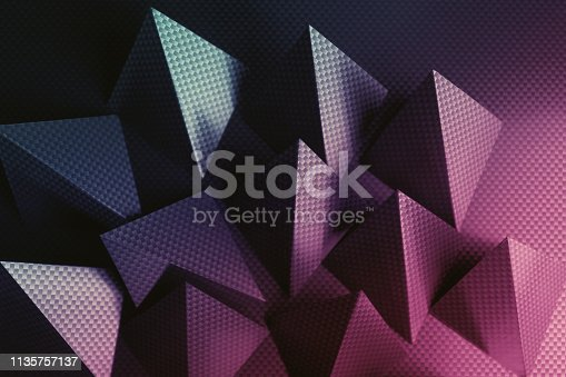 istock Pyramidal shapes of paper, composition for abstract background 1135757137