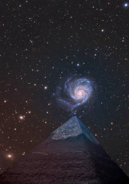 Pyramids and the starry sky.