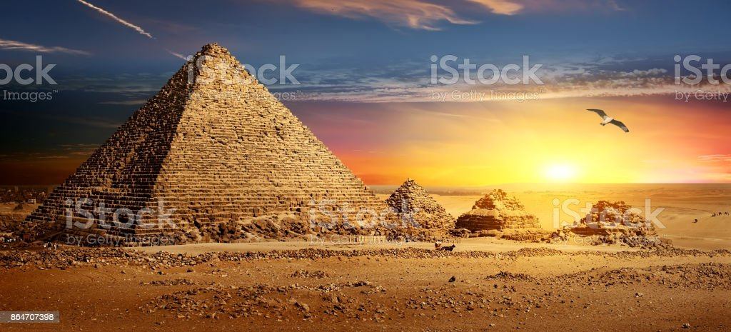 Pyramids at sunset stock photo